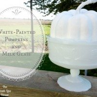 White Painted Pumpkins and Milk Glass