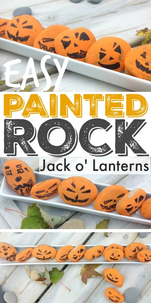 Easy painted Jack O' Lantern rocks! Such a fun and simple Halloween craft idea!