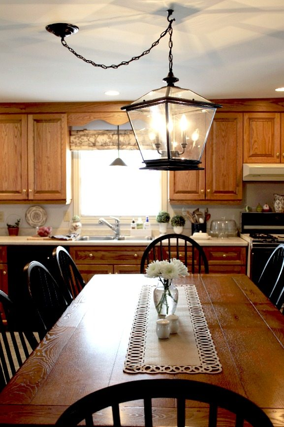 Farmhouse lighting in the kitchen the creek line house for Farmhouse style kitchen lighting