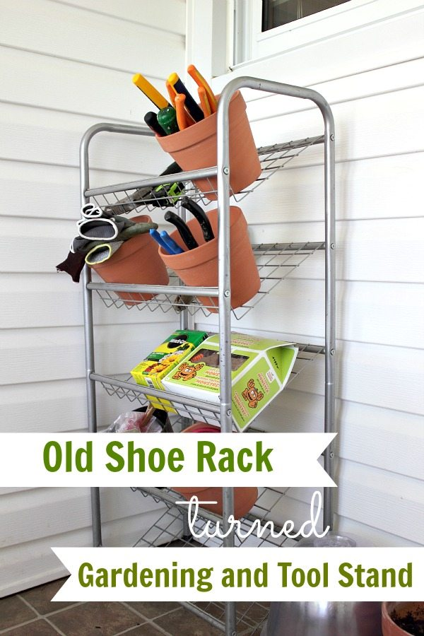 Old Shoe Rack Turned Gardening and Tool Stand