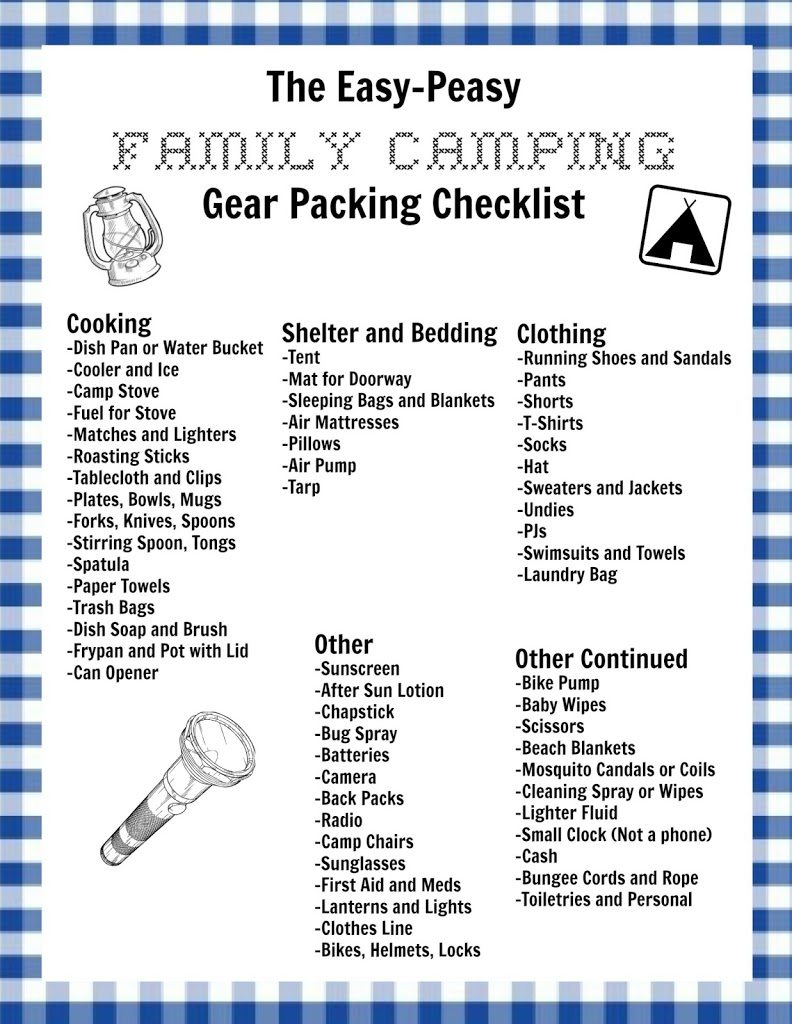 my easy-peasy family camping checklist and a free printable version for you