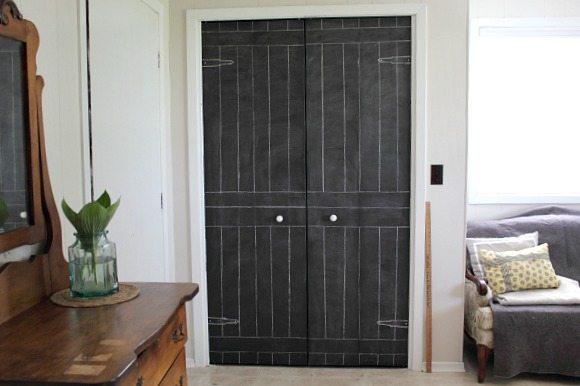 Diy Closet Door Update Turn Plain Doors Into A Giant Chalkboard