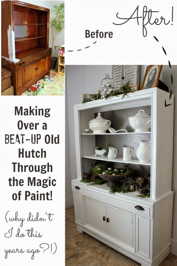 Making over a beat up old hutch through the magic of paint!