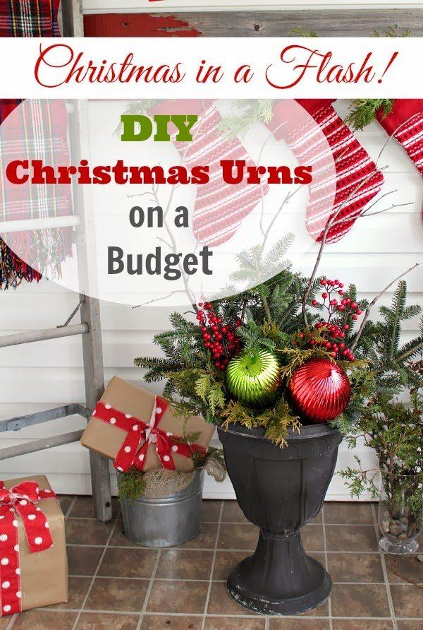 diy christmas urns on a budget the creek line house. Black Bedroom Furniture Sets. Home Design Ideas