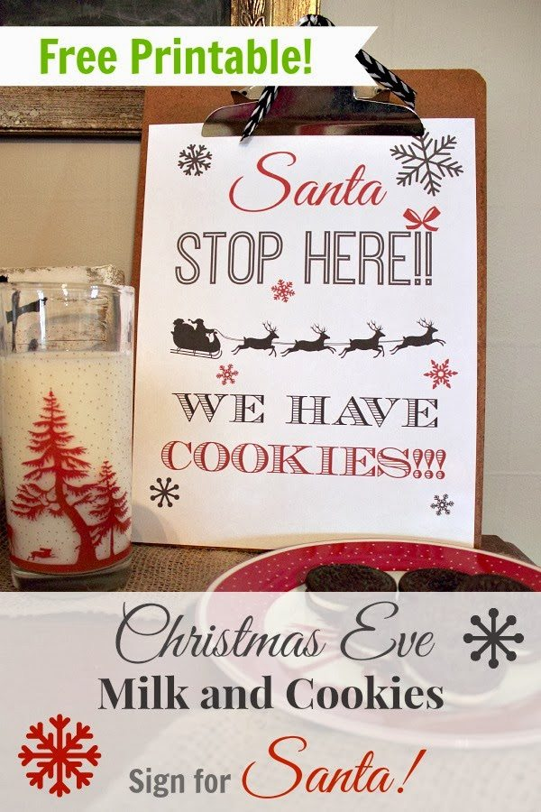 Free printable sign to leave out for Santa this Christmas Eve!