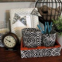 Classy Zebra Desk Accessories with Duck Tape®!