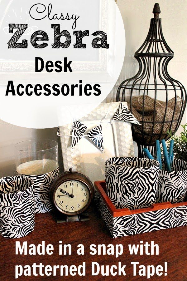 Cly Zebra Desk Accessories With Duck Tape