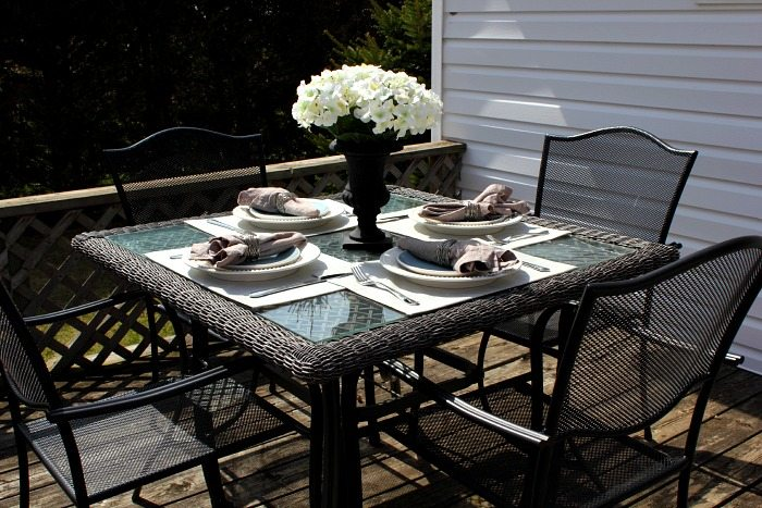 An Outdoor Table Set With Vinyl Place Mats