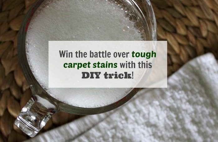 A DIY carpet stain trick and a recipe for a homemade carpet cleaning solution!
