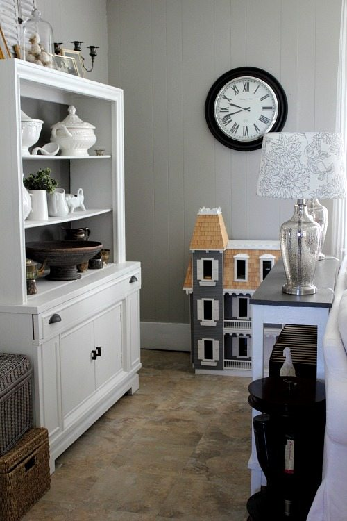 Sources and paint colors for this grey and white living room