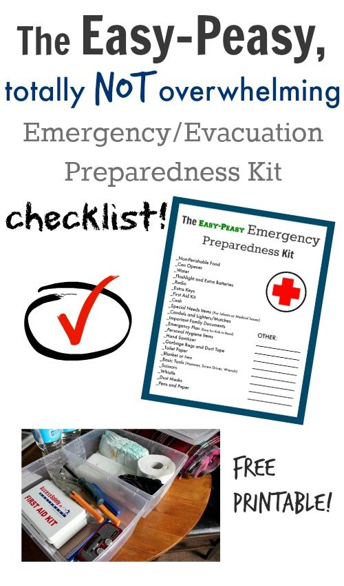 An easy-to-follow free printable checklist so you can finally put together that emergency kit you've been meaning to make!