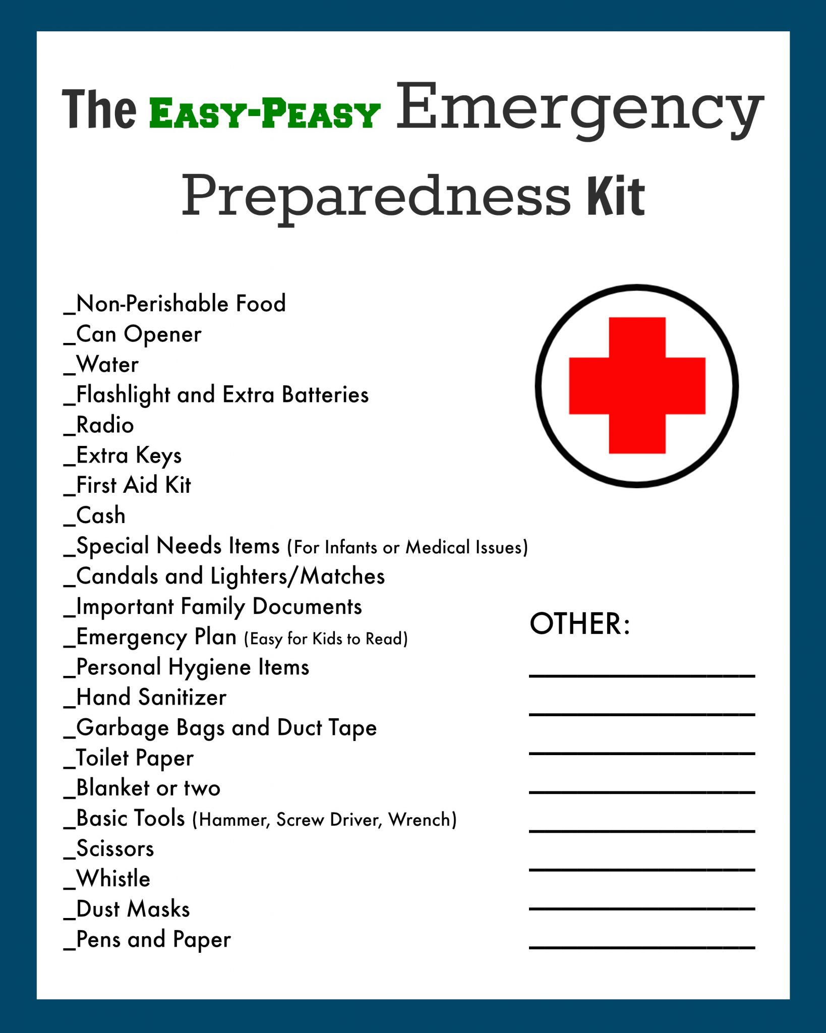 Home disaster survival kit poem