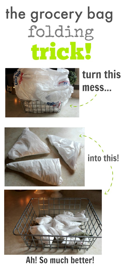 Plastic grocery bags have many great uses around the home but saving all those bags just contributes to the clutter in your cupboards.  Well, go ahead and save your bags and say goodbye to that clutter too as I show you how to neatly fold grocery bags.