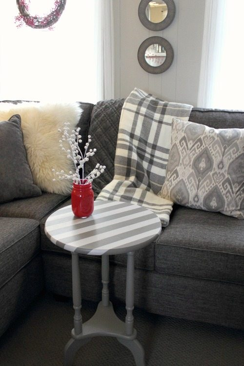 A quick painted table fix-up using a stripey pattern and paint testers!