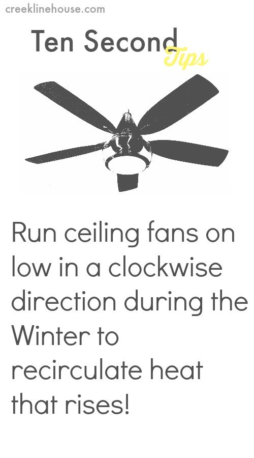 Saving on Winter energy costs with ceiling fans! So neat!