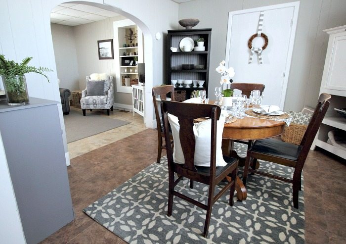 Love this cute grey and white cottage dining room! Great before and after!