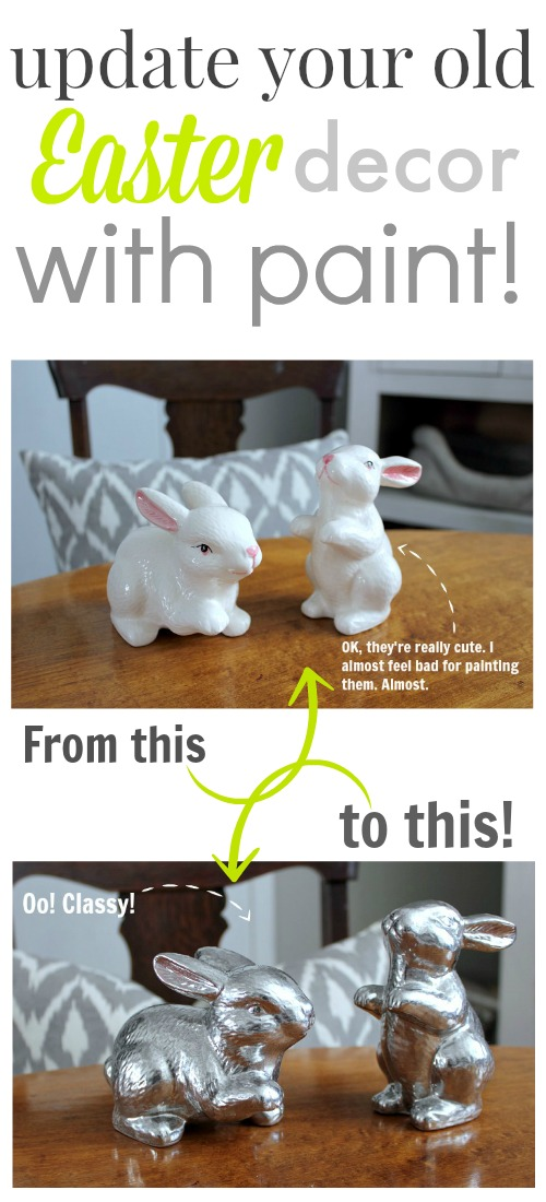 Turn plain old dollar store items into modern, chic Easter decor with this simple DIY Easter decorating idea.  These look like something purchased at a high-end store!