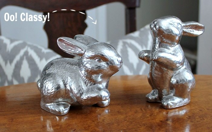 Great idea for updating outdated Easter decor with spray paint! Why buy all new stuff if you don't have to?