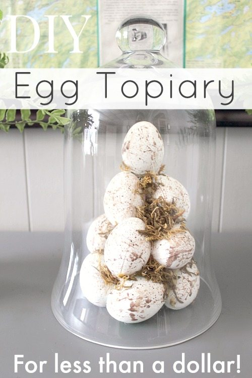 How to make your own Easter egg topiary for less than a dollar! So much cheaper than buying those foam cone forms!