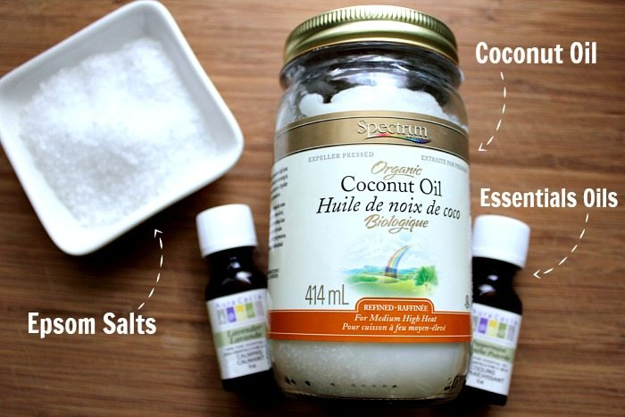 Make this DIY moisturizing and exfoliating salt scrub with stress relieving properties in a cute mason jar in just 2 minutes flat!