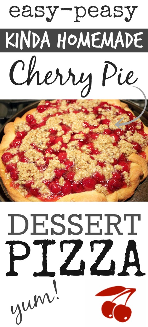 Easy and pretty cherry pie dessert pizza recipe! The perfect kid-friendly dessert for Summer BBQ dinners and potlucks!