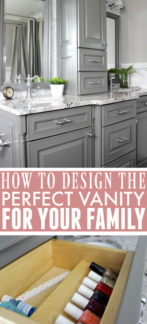 In today's post I'll share our process for how we decided what features we wanted for our bathroom vanity. Here's how to design the perfect bathroom vanity for your family!