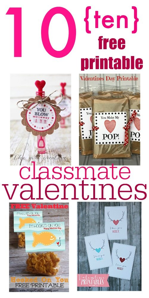 image relating to Printable Valentine Cards for Classmates identified as 10 Totally free Printable Clmate Valentines! The Creek Line Property