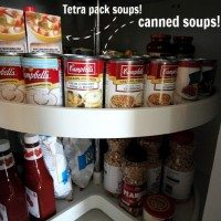 How to organize one of those lazy-susan, double-decker, corner cupboard, turn-y things!