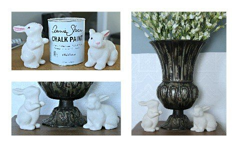 Dollar Store Easter Decor - Chalk Paint Bunnies from The Project Pile
