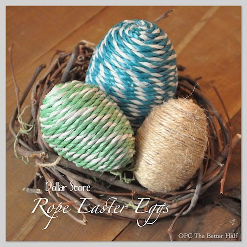Dollar Store Easter Decor - Rope Easter Eggs from One Project Closer