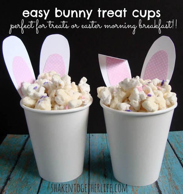 Dollar Store Easter Decor - Easter Bunny Treat Cups from Shaken Together