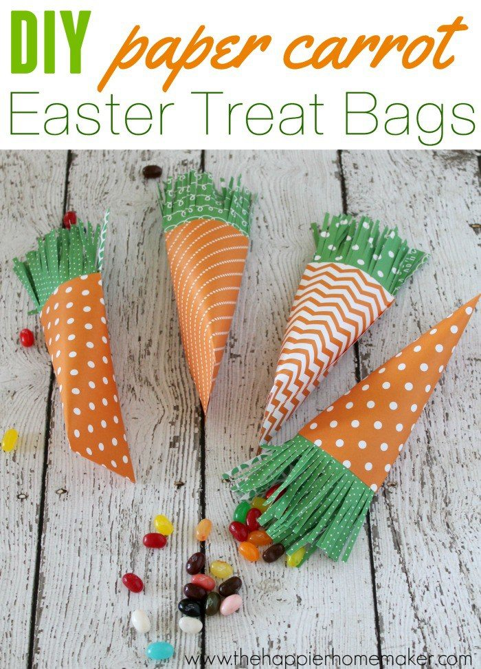 Dollar Store Easter Decor - Carrot Easter Goodie Bags from The Happier Homemaker