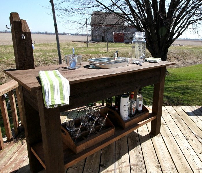 Create an impressive beverage center like this for your summertime deck in less than a weekend!