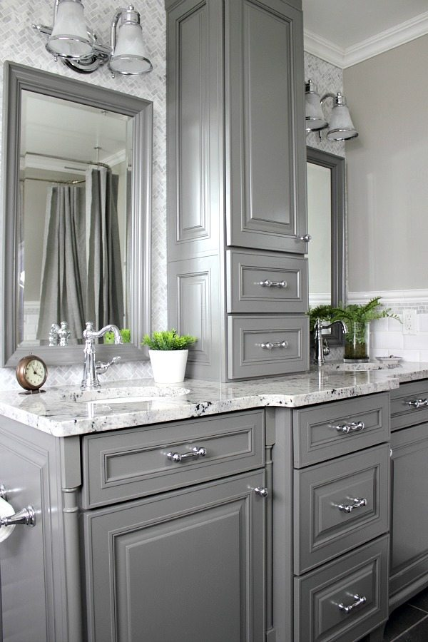 Our home 39 s farmhouse paint colors the creek line house for Master bath vanities pictures