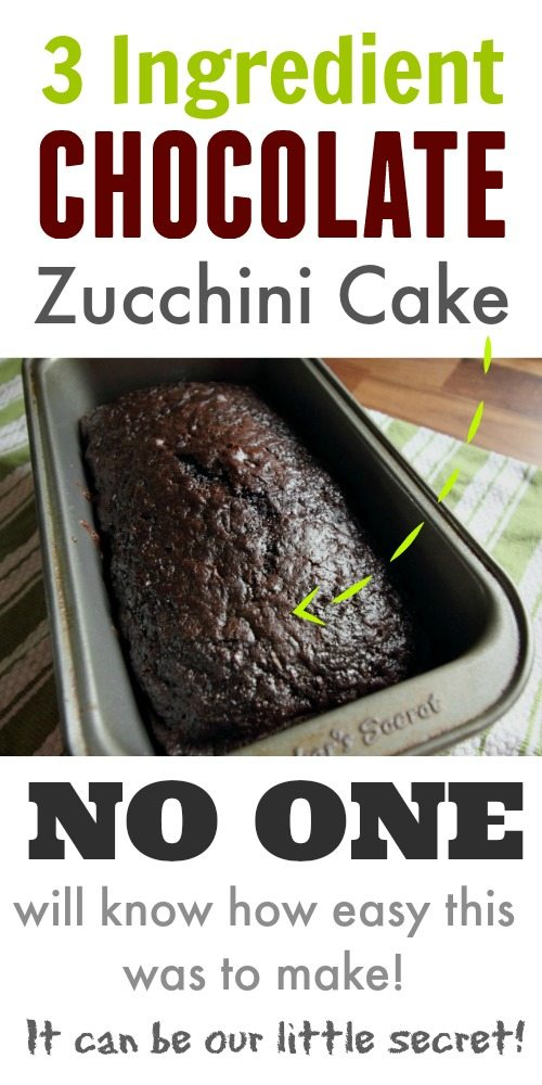 Classic, old fashioned chocolate zucchini cake recipe using only 3 ingredients! This turns out so well every time!