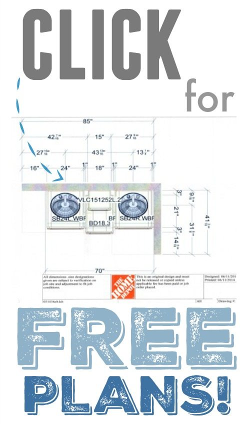 Free plans for building this beautiful bathroom vanity! We get so many compliments on this design!