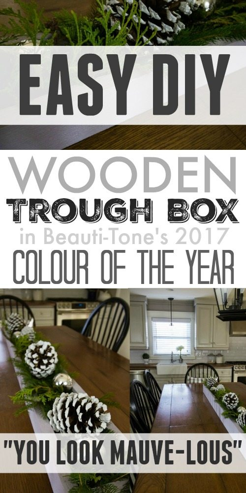 "Easy DIY wooden trough box painted in the 2017 color of the year ""You Look Mauve-lous""! #ad"
