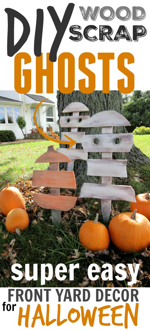 diy scrap wood ghost and pumpkin decorations so cute and easy for the front yard
