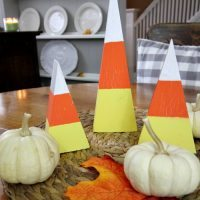 Candy Corn decor made from 2×4 wood scraps!