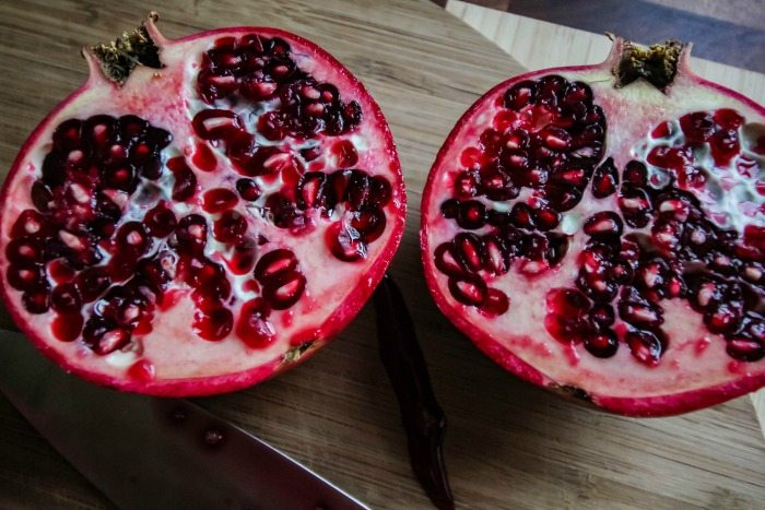 The best way to deseed a pomegranate. Step 1 - cut it in half