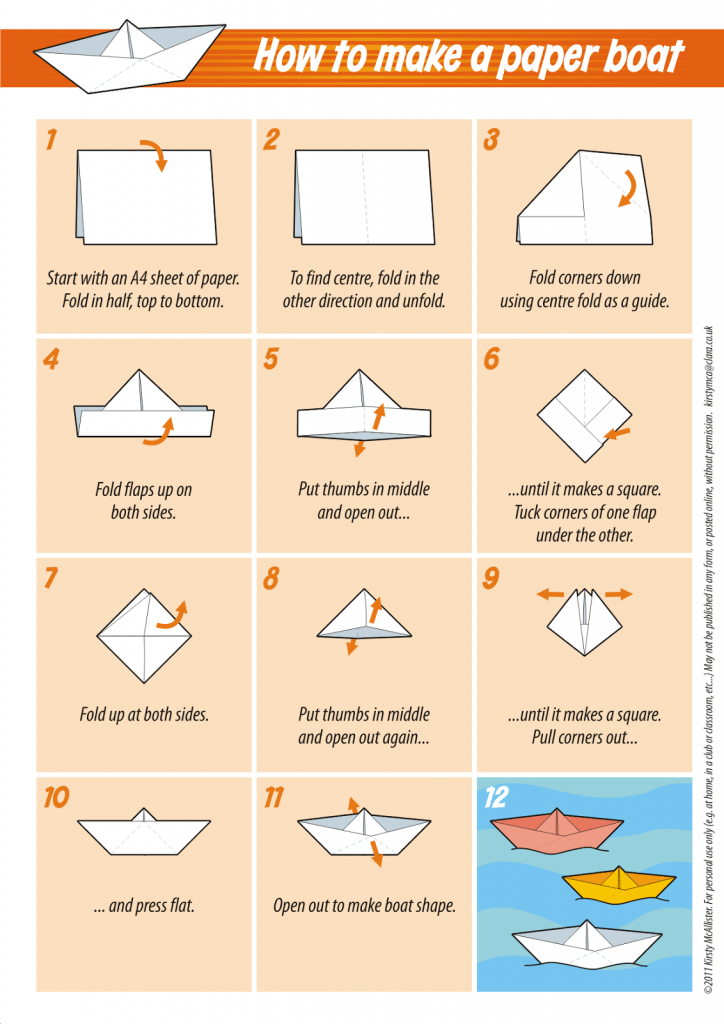 Folding Hacks - How to fold a Paper Boat from Kristy McAllister