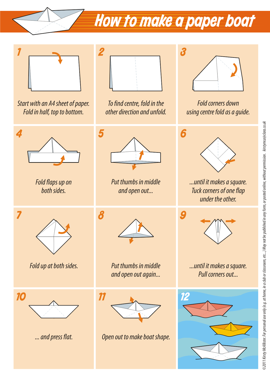 Making a simple boat out of paper with children 5