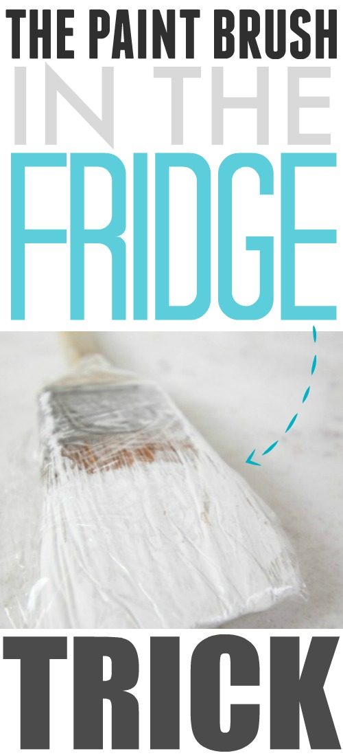 Are you looking for an easy, time-saving paint trick?  This one will save you so much time and energy you'll never stop using it.  This is the paintbrush in the fridge trick!