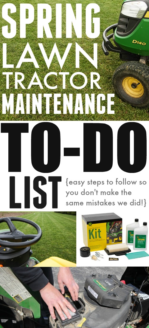 Easy to follow to-do list for all the little things you need to do for spring lawn tractor maintenance!