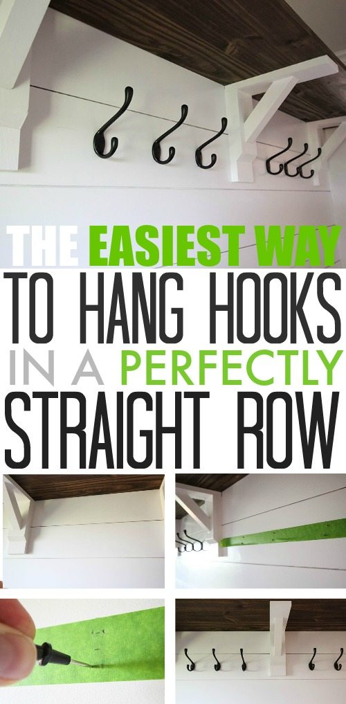 the easiest way to hang hooks in a straight row the creek line house. Black Bedroom Furniture Sets. Home Design Ideas
