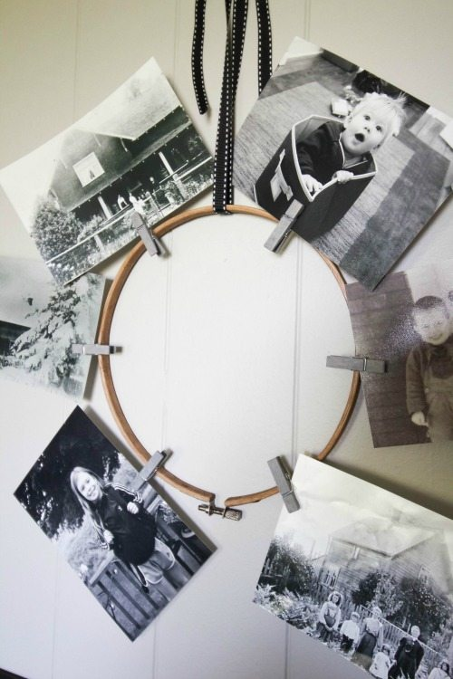 A quick and easy photo wreath made out of an embroidery hoop!