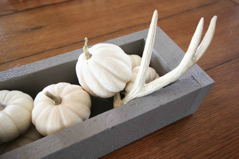 Easy and rustic DIY fall centerpiece. Love this trough filled with white pumpkins!