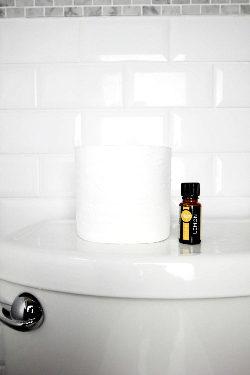 Keep your bathroom smelling fresh and clean with this essential oil toilet paper trick. This trick is so simple and it keeps working for days!