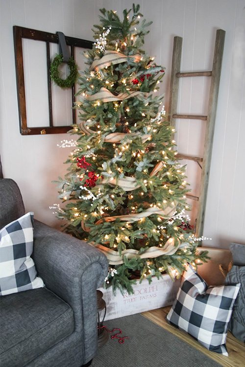 Diy rustic christmas tree collar skirt the creek line house