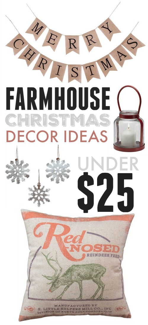 Check out these farmhouse Christmas decor ideas under $25 if you're looking to add a little classic holiday style to your home this year without breaking the bank!